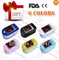 Fingertip Pulse Oximeter Spo2 Monitor Fingertip Oxygen Monitor CE FDA 6 Colors 6 Modes With Free Soft Rubber Case
