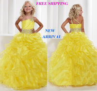 79 2015 one shoulder tiered beads ball gown flower girl dresses for weddings girls pageant dresses prom dress custom made 2015