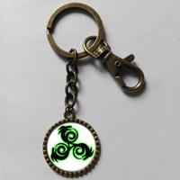 Wholesale 6$ Teen Wolf Triskele Keyring Triskelion Allison Argent   Key Chain Art Glass Pendant Cute Keychain Gift lot