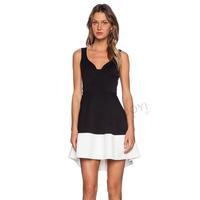 Back Zipper Black White Women Dresses V-Neck Patchwork Sleeveless A-line Casual Dress Draped Hem Vestido 2015 New Free Shipping