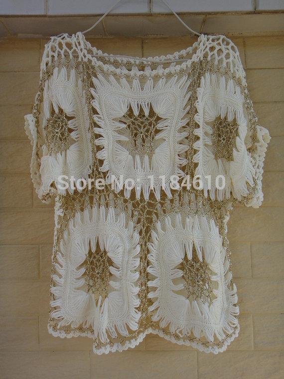 Womens Tunic Blouse Crochet Top Boho Clothing Hairpin Crochet Pattern