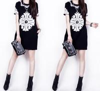 free shipping 2015 women dress Summer fashion vintage baroque short-sleeve slim hip slim one-piece dress plus size black/white