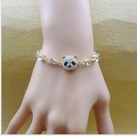 Fashion 2015 bracelets for women Accessories panda with rhinestone design gold chain cjharm bracelet exquisite jewelry ,PD111