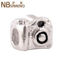 Min order $10 Free Shipping 1Pc Silver Bead Charm European Silver Camera Bead Fit pandora Fit BIAGI Bracelet 9BD0005