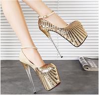 2015 women 20cm high heels PU gold glitter shoes female sexy platform pumps sy-1055