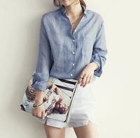 free shipping 2015 women shirts , casual tops ,blue/black/white