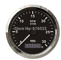 Popular 85mm black stainless steel bezel tachometer 3000 rpm12v 24v yacht car truck general