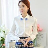 Korean Beaded White Shirt , all-Match Long Sleeve all-Match Cardigan Woman Blouse Chiffon Free Shipping