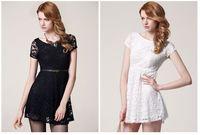 women's summer lace white / black short sleeve O-neck embriodery straight  mini dress S M L #467113249