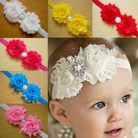 Fashion Shabby Flower Headband Baby Girls Elastic Hairband Headbands Girls Headwear Children Kids Hair Accessories FS178