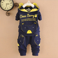 Free Shipping!2015 spring  bear style boy  cotton clothes sets children sport suit baby wear  Retail