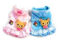 10PC/Lot Cute Bear Design Pet Dog Clothes Princess Dress Winter Coral Fleece Dog Puppy Coat Hoodie Sweaters Dog Clothing S-XXL