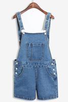 New women's colthing Denim short pants cowboy straps shorts Campus braces jeans Straight suspender trousers overalls plus size