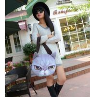 3d Printing - lovely big face cat lady bags, creative meow star Women Shoulder Bag Harajuku  cat head movement Meng soft cats