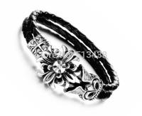 11mm wide .9'' lenght Stainless steel & Real leather Punk Cross flowers Design Bracelet Men's Bangle