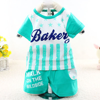 2015 New summer baby suit casual character stripped chidren clothing set 3154
