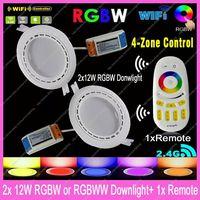 2x Mi.Light 12W RGBW /RGBWW Color/Brightness Adjustable LED WiFi Downlight w/ driver AC85-265V +1x2.4G RF Wireless 4-Zone Remote