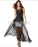 Free shipping 2015 Bandage Dress For Fashion O-Neck Black Gradient Gauze Long Dress H487