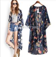 Fashion Women 2015 Floral Print Chiffon Long Kimono Cardigan Loose Shirt Lady Chiffon Blouse camisas Blusas femininas