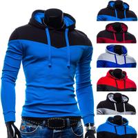 Wholesale 2015 Men new fashion Autumn/ Winter casual slim coat hooded Thickening splicing hoodies men Fleece Hoodies Men