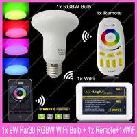 1x E27 Mi.Light 9W RGBW or RGBWW Mushroom Style Par30 LED Bulb AC85-265V+1x WiFi Hub+1x 2.4G Wireless RF 4-Zone Touch Remote