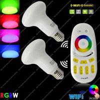 2x E27 Mi.Light 9W RGBW or RGBWW Par30 Mushroom Style WiFi Compatible LED Bulb AC85-265V+ 1x 2.4G RF Wireless 4-ZoneTouch Remote