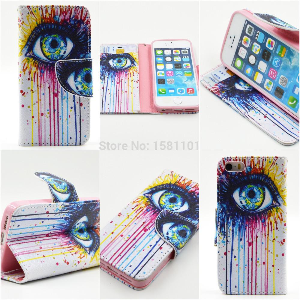 with Card Slots Luxury PU Leather Flip Case for iphone 5 5S 5G Elephant Anchor Owl Tiger Lion Rose Dog Tree Eyes Monkey Pattern(China (Mainland))