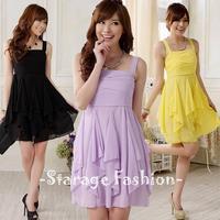 L-XXXL Korean Plus Size Women Solid Chiffon Party Dresses Short Ladies Formal Dresses Female Ruffles Dress For Banquet/Club 9711