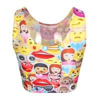 Fashion Women 3D O-neck Short Funny Print Emijo Crop Top Funny Tank Short For Girl Vest