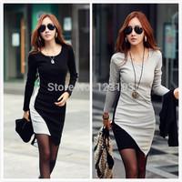 2014 one-piece dress o-neck long-sleeve patchwork irregular sweep basic