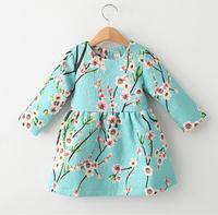 Three Quarter Sleeve Girl Dress Animal Print Children Princess Dress 2014 Brand New Winter Casual Kids Dress Baby Girls Dresses
