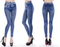 new women thin Ladies Denim jeans Leggings pencil pants nine Leggings autumn warm trouser