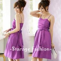 Korean Style Elegant Ladies Purple Ribbon Bow Strap Party Dresses Women Short Formal Dress Female Sleeveless Dress 1190