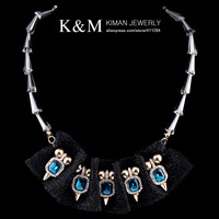 High Top Gold Plated Inlay Crysal Glass Beads Chain Chokers Necklace with Lace for Hot Women NK-01369 MOQ is $10 Free Shipping