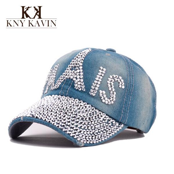 Spring PRAIS Drill CAP Fashion Adjustable Baseball Cap Rhinestones Hat Jean Basecall Denim Caps Snapback Women Sun Hat AH69800(China (Mainland))