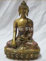 Free Shipping Beautiful Tibetan bronze Cloisonne Amitabha Buddha Heaven help us Shakyamuni