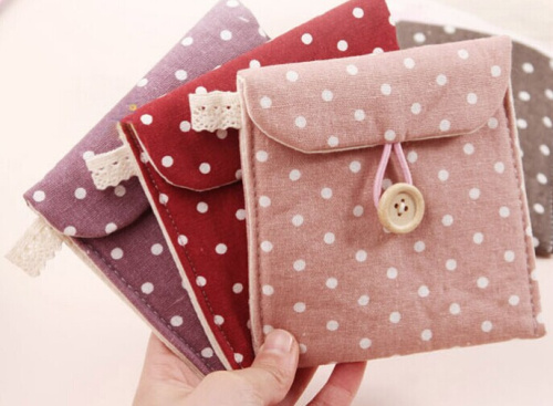 Sweet Polka Dots 11CM Approx. Cotton Fabrics Lady Women's Sanitary PAD Case BAG Holder Pouch ; Napkin Bag Holder Pouch Case(China (Mainland))