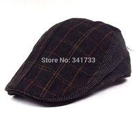 spring & autumn woolen visor cap for men peaked cap plaid casquette,chic men's visors hat beret cap,boinas masculinas