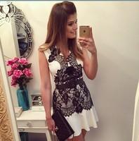dress 2015 women dress vestidos ebay AliExpress explosion models lace sleeveless V -neck chiffon dress vestido de festa