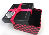 Free shipping New arrival  square10*10cm jewelry bracelet bangle or bangle set box  fuchsia ribbon bowknot,holiday gift box