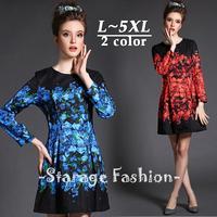 L-5xl Brand Elegant Ladies Plus Size Flower Print Spring Long Sleeve Dress Women Big Size Knee-Length Casual A-Line Dresses G388