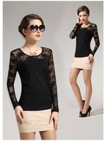 2015 women plus size lace shirts o-neck long-sleeve cotton women top female blouse