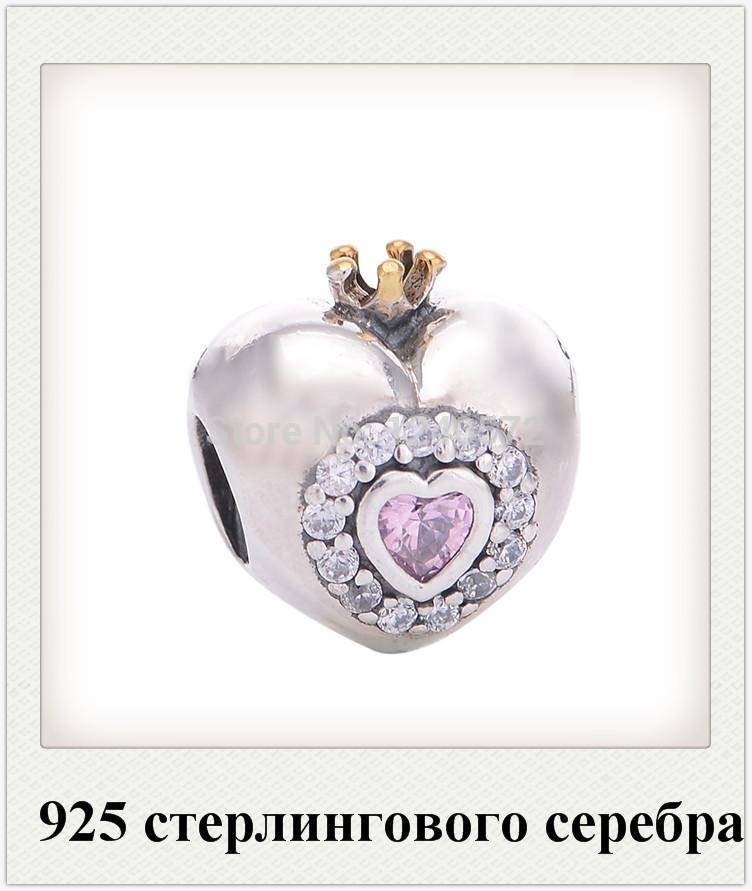 Diy grátis frete atacado 925 Sterling prata princesa rosa do encanto do coração Fit For Pandora europeu pulseira LW424(China (Mainland))