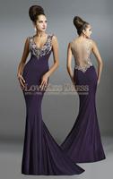 Silver Beading V Neck Sleeveless Mermaid Chiffon Prom Dress Floor Length Formal Evening Dress Long
