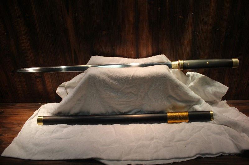 Hand Forged Chinese Jian T10 Clay Tempered Zhi Jian Ebony Wood Sword(China (Mainland))