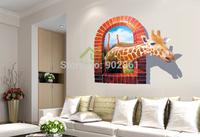 Funlife Vivid 3D PVC Window View Wall Sticker Africa Giraffe Sticker Mural Vinyl Photo Frame Mural Wall Paper Decals WS710AY8007