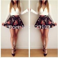 hot-selling autumn long-sleeve low-cut mini one-piece dress - -