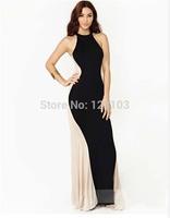 Fashion fashion sexy halter-neck colorant match fish tail evening dress full dress one-piece dress