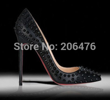 2015 shoes Woman high heels shoes Bottom Studded Spike pumps Stiletto With Spikes Rivets Heels Sapatos Shoes Women Free Shipping(China (Mainland))