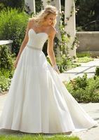 New Fashion Ball Gown Sweetheart Satin Floor Length Zipper Up Sweep Train Cheap Wedding Bridal Gown Dresses 2015